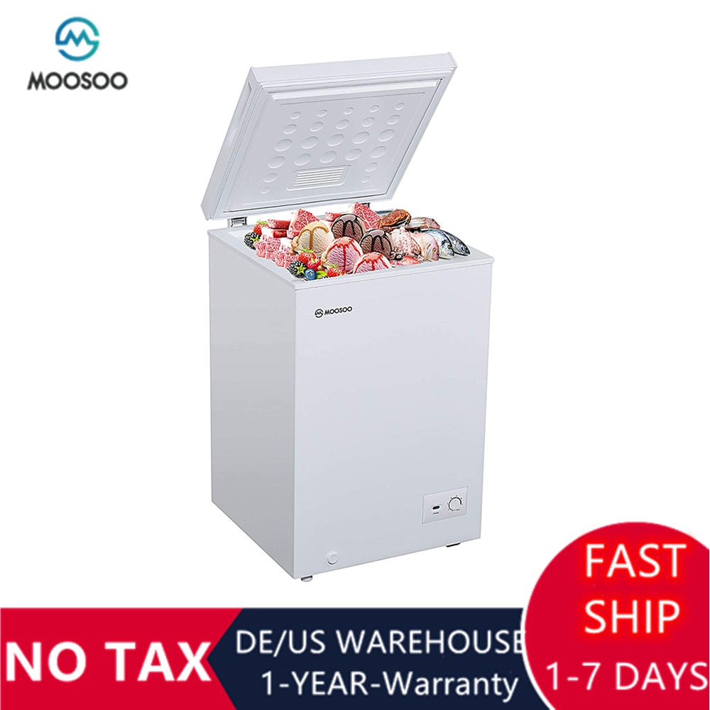 MOOSOO Chest Freezer 3.5 Cubic Feet with Removable Basket Deep Freezer with Low Noise Energy Saving Compact Freezer with CSA