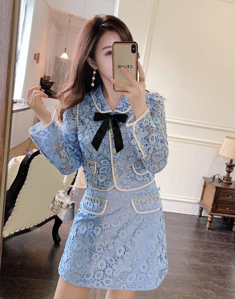 عالية الجودة الخريف جديد الأزرق فستان من الدانتيل قطعتين مجموعة النساء القوس واحدة الصدر قميص أعلى عالية الخصر تنورة صغيرة الدعاوى