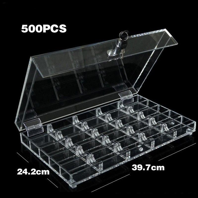 Bandeja/caja de acrílico de Casino de 500 Uds bandejas transparentes de fichas de póker con cubierta/cerradura clara Texas accesorios póker