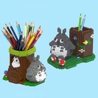 creative cartoon totoro pen holder building blocks girl toy diy animal mouse model doll pen box assembly brick childrens gift