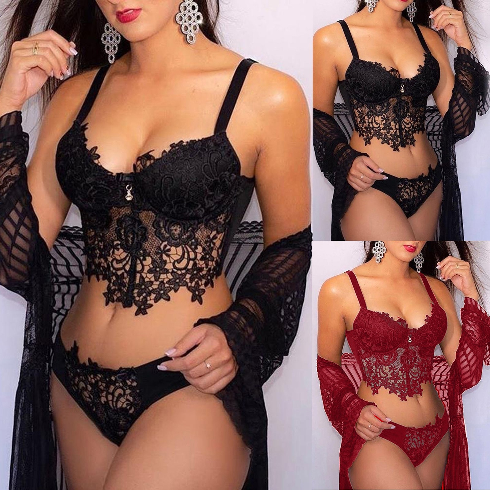 Sexy Women Embroidery Lingerie Plus Size Lace Collar Wireless Bra Sexy Lingerie Thong Set Hot Erotic Sleepwear Sex Costumes