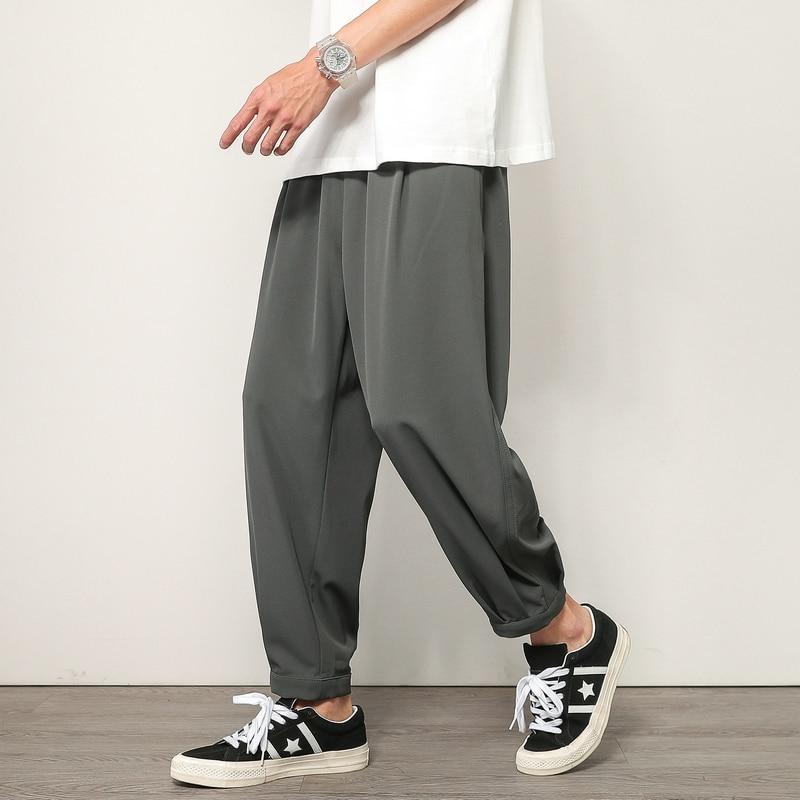 Summer Harem Pants Men Streetwear Joggers Breathable Ice Silk Baggy Trousers Male Casual Sweatpants