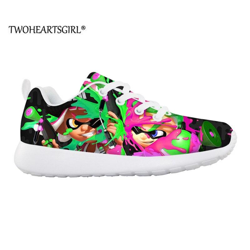 حذاء للأطفال من twoheart sgir ذو رسومات كارتونية مميزة 2 تصميم على الجدران حذاء رياضي خفيف الوزن شبكي للأولاد والبنات بدون كعب