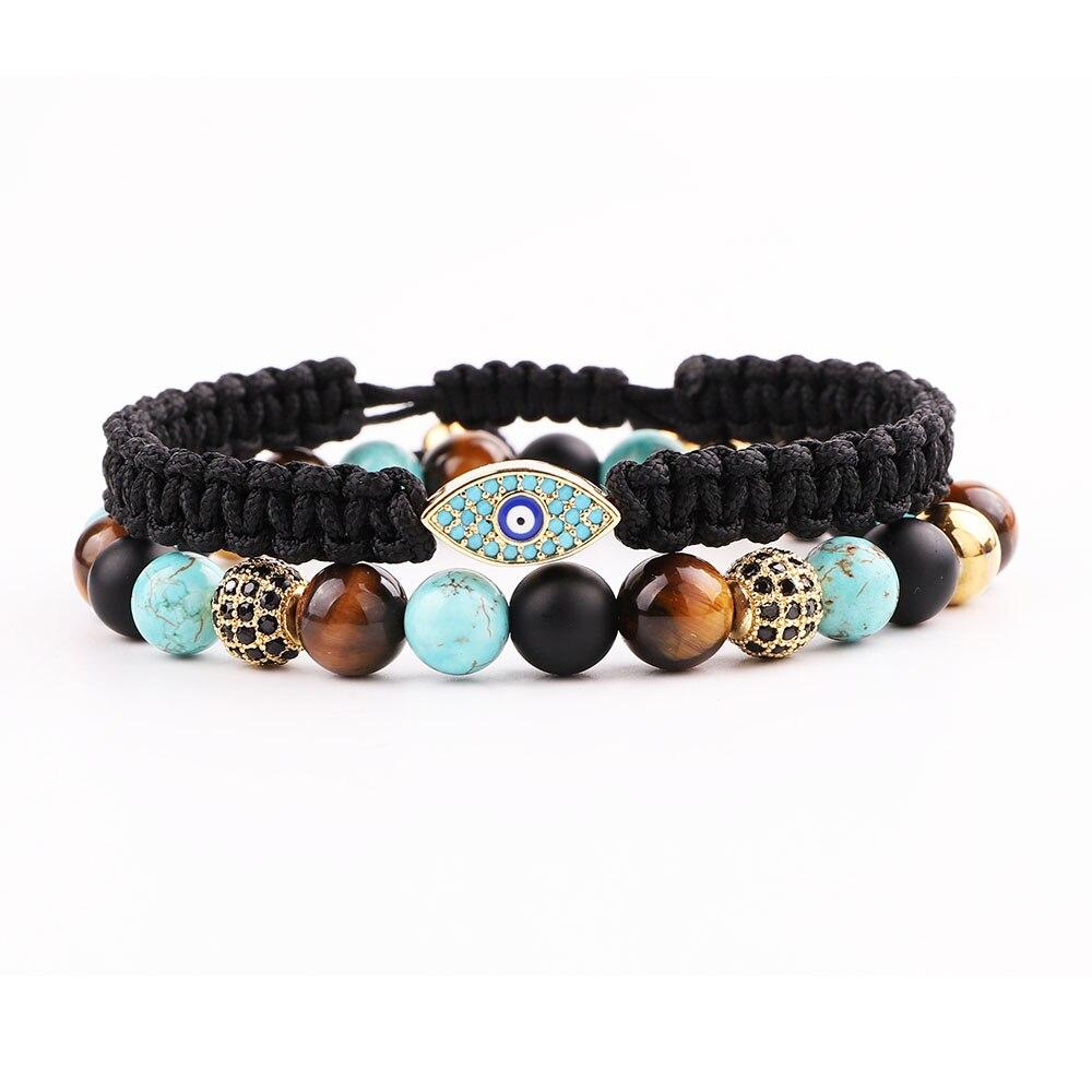 Men Bracelet Set High Quality New Design CZ Pave Eye Charm Natural Stone Bacelet Set For Men Jewelry