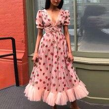Женское Сетчатое платье макси, расшитое стразами, с клубничкой, с коротким пышным рукавом, с v-образным вырезом, на шнуровке, с бантом, платье в стиле Лолиты