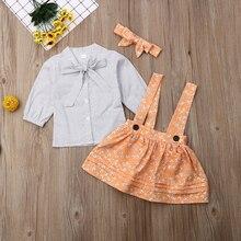 6M-5Y niños bebé niña de manga larga Polka Dot Bow Shirt Tops Floral suspensor falda diadema 3 piezas princesa Niñas Ropa conjunto