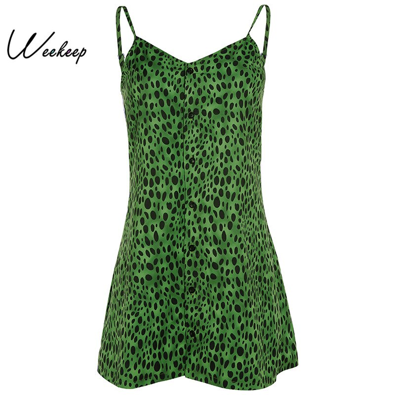 Weekeep V-neck Green Leopard Dress Women Summer Spaghetti Strap Casual Mini A-line Dresses Vestidos