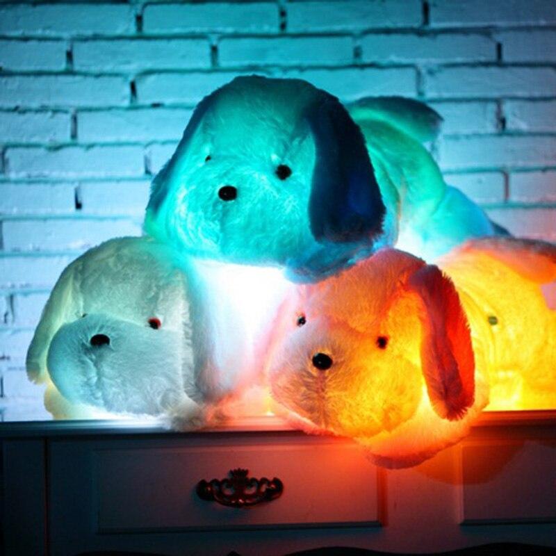 30-80 cm lumineux chien en peluche poupée coloré LED brillant chiens enfants jouets pour fille enfants anniversaire cadeau de noël