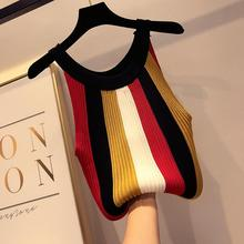 Sexy Halter Top Women Stripe Knitted Tank tops Summer Sleeveless Streetwear Korean Style Clothes