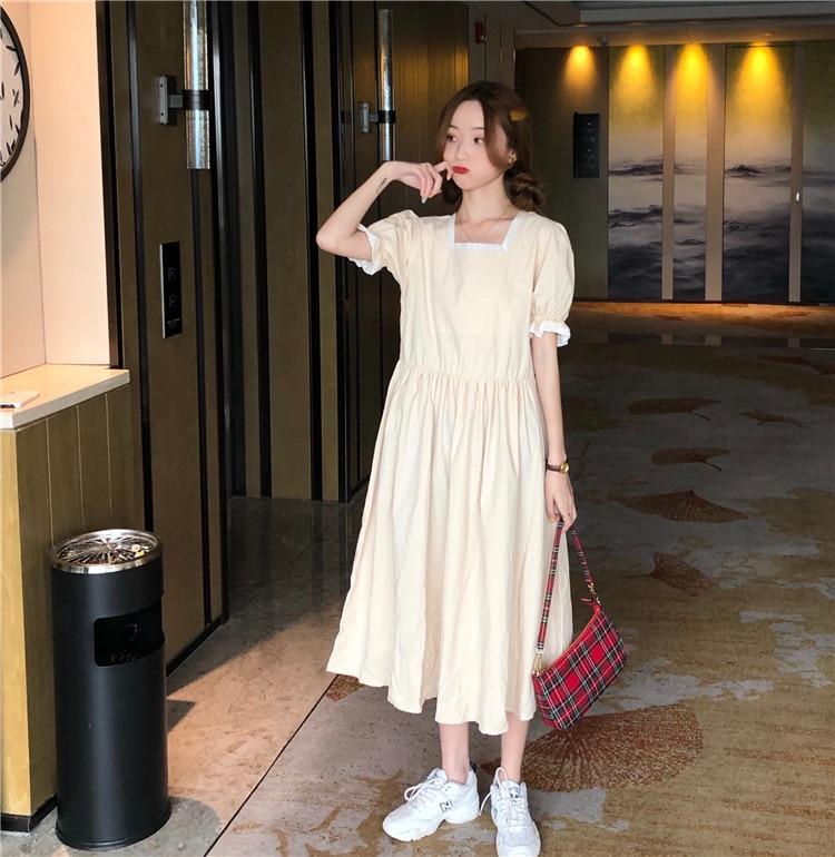 CMAZ Dresses For Women Summer 2021 Korean Style Puff Sleeve Square Collar Solid Color Midi Loose Dress Elegant Female Vestidos