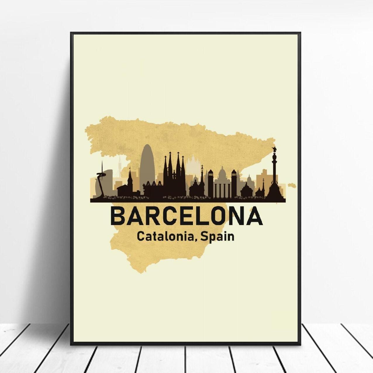 Barcelona, España pintura de la lona de la pared imágenes artísticas huellas...