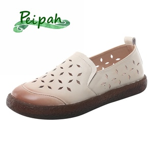 PEIPAH Genuine Leather Shollow Women Ballet Flats Ladies Hollow Out Slip On Flats Shoes Woman Solid Casual Zapatillas Mujer 2020