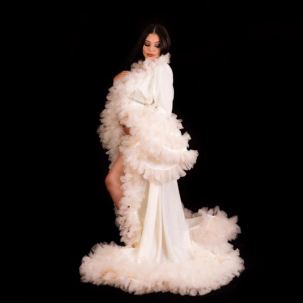 Don&Judy Maternity Dress for Photo Shoot 2020 Prom Dresses Maternity Tulle Robe Bell Sleeves Party Gown Dress for Christmas enlarge