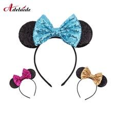 Nowe mody Minnie Glitter uszy Hairband z cekinami łuki dla dzieci dziewczyny słodkie łuk pałąk obręcz do włosów akcesoria do włosów