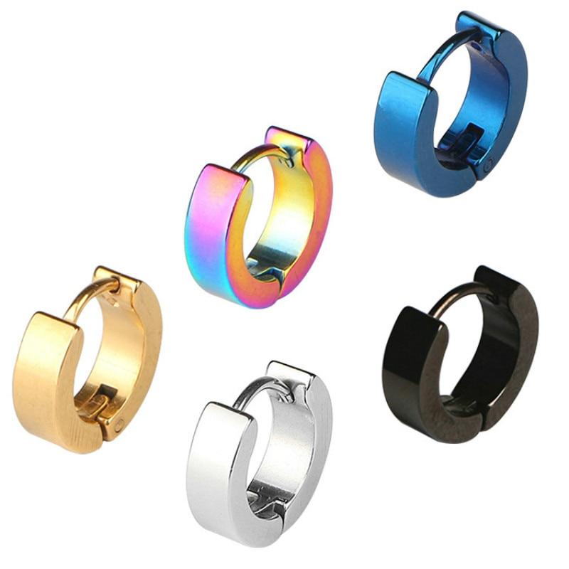 1pc punk retro stainless steel hypoallergenic stud earrings ear clip unisex round glossy titanium steel earrings mens earrings