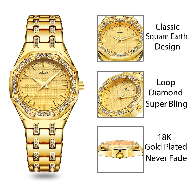 MISSFOX women watches top selling luxury elegant bling ice out watch for lady waterproof party dress jewelry wristwatch 2020 new enlarge
