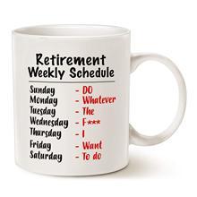 Funny Retirement Gag Christmas Gifts for Family Mom Dad Grandpa Grandma, Retired Schedule Calendar Office Coffee Mugs 11oz