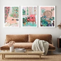 abstract colorful cat building flowers canvas painting wall art nordic posters and prints wall pictures for living room decor