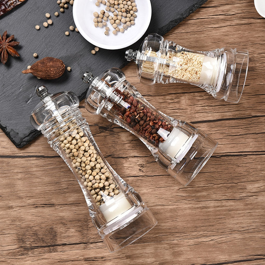 Acrylic Grinder Transparent Pepper Mill Manual Crusher Ceramic Core Multifunctional Cruet Kitchen Tool