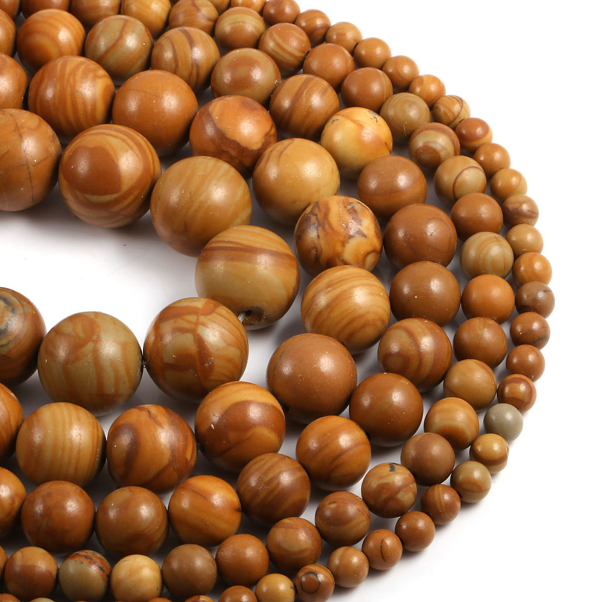Natural Stone Beaded Brown Wood Grain Loose Round Beads For Jewelry Making DIY Bracelet Necklace Accessories 4/6/8/10/12mm 15''  - buy with discount