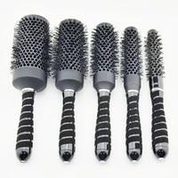 hot saling nano ceramic hair brush in black color ionic round brush in nano technology price for i 1 set 5 pcs