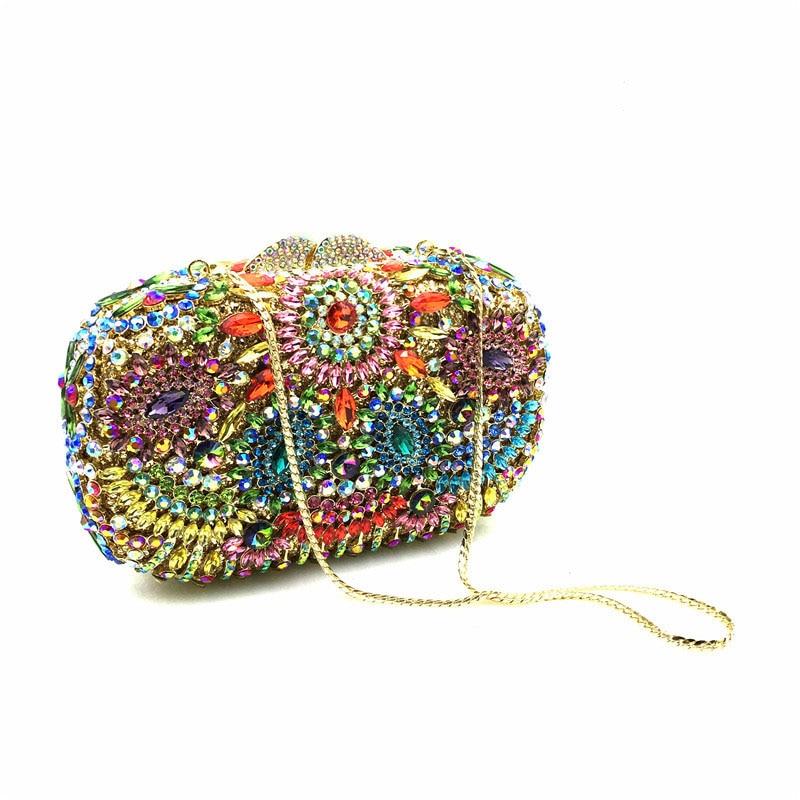 السيدات الفاخرة المعادن الجوف خارج مساء البريق حقيبة الراقية الماس محفظة سلسلة صغيرة Crossbody حقيبة كتف لحفل الزفاف