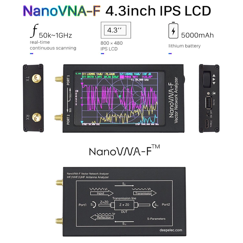 Nanovna-f 4.3 ips display lcd vna swr medidor vhf uhf antena analisador + caixa de metal vector rede analisador 50khz-1000mhz 5000mah