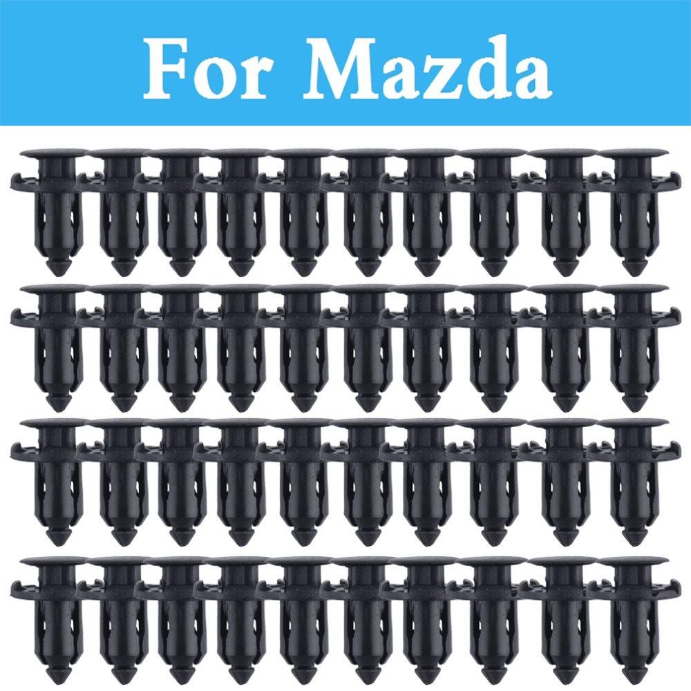 50pcs 9mm Plastic Screw Rivet Push Fit Panel Trim Clips Fixings Clips Black For Mazda Cx-3 Cx-5 Cx-7 Cx-9 3 2 3 Mps 6 6 Mps