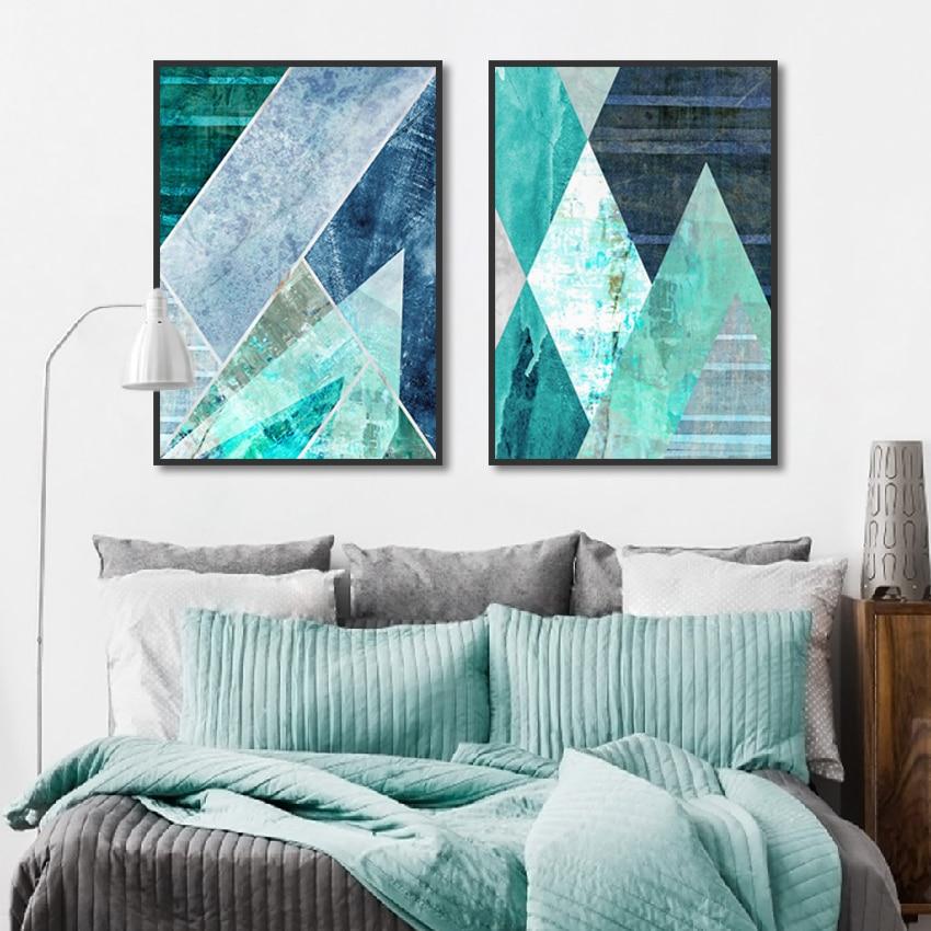Abstracto geométrico turquesa lienzo pintura nórdico decoración hogar pared cuadros para sala de estar carteles decorativos e impresiones