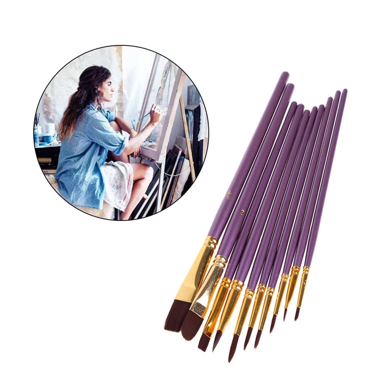 10Pcs Artist Paint Brush Set Nylon Hair Watercolor Acrylic Oil Painting Drawing G6DD