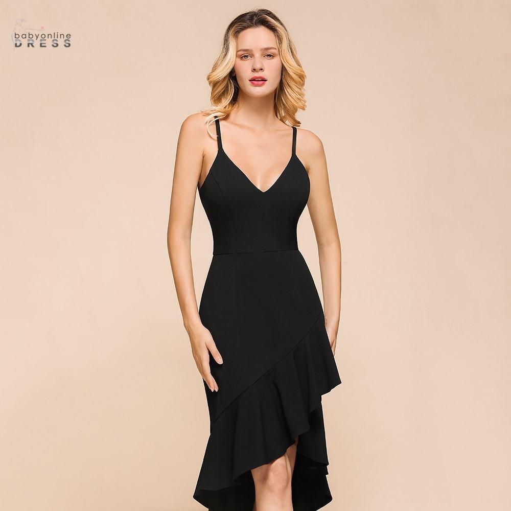 2020 Little Black Dress Sexy V-neck Cocktail Dresses Backless High-low Short Party Dresses Vestidos robe cocktail femme