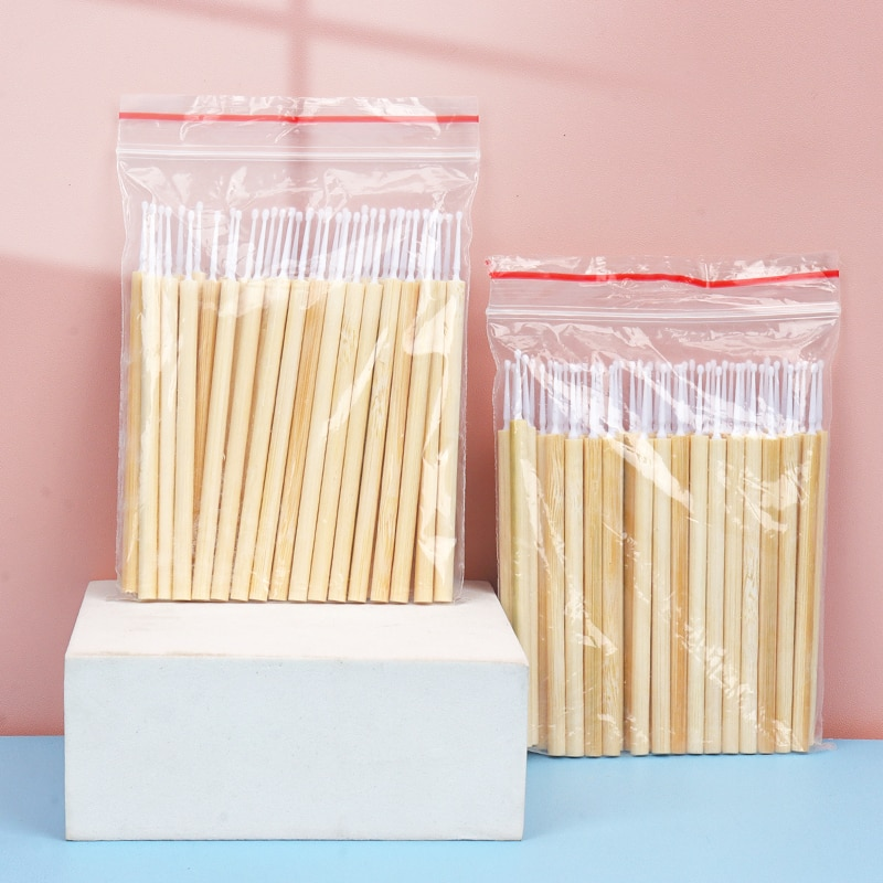 50 pcs Disposable bamboo Stick Micro Brush Mascara Wands Swab Microbrush for Eyelashes Extension wom
