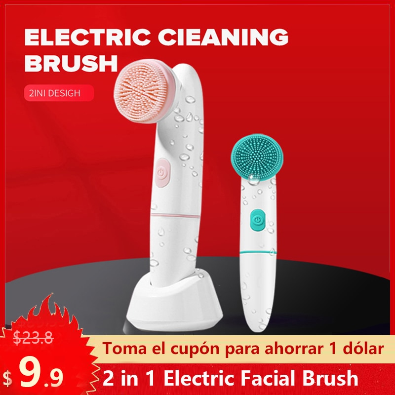 2 in 1 Electric Facial Brush Sonic Vabrating Massage Face Cleansing Brush Deep Clean Remove Blackheads Acne Skin Care Tools