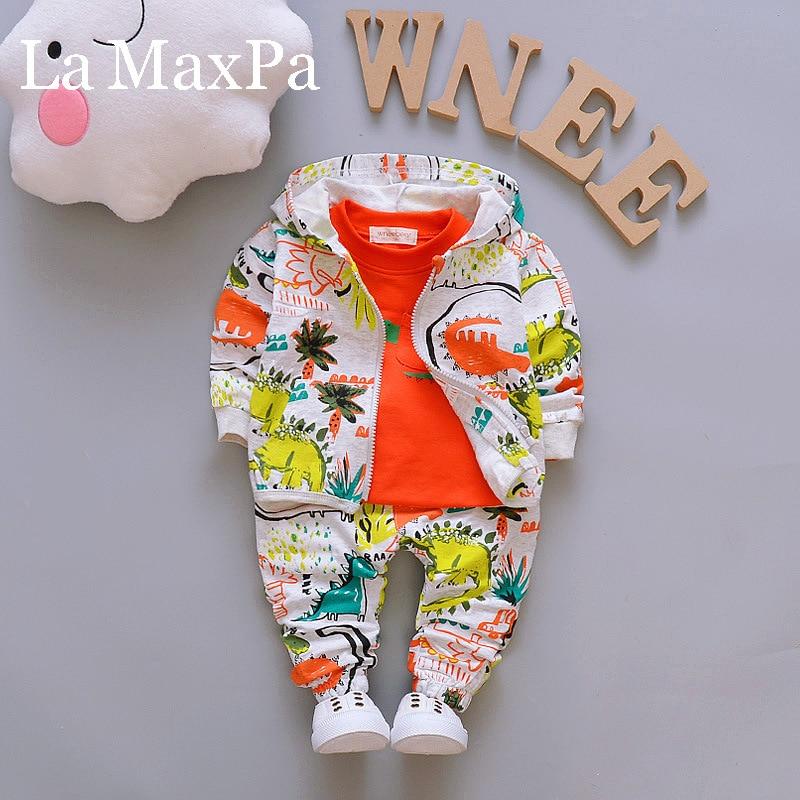 Jesienne zestawy ubrań dla chłopców moda dla dzieci Cartoon dinozaur z długim rękawem T-shirt + płaszcz + spodnie 3 sztuk Jogging suiry dla niemowląt chłopiec dres