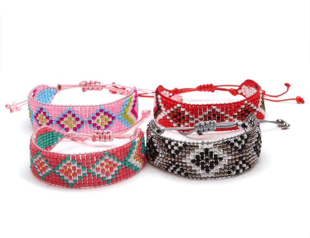 Boho multicolor cuenta de semilla de cristal tejida ajustable India pulsera encerada cuerda hecha a mano puntos ojos moda verano joyería regalo