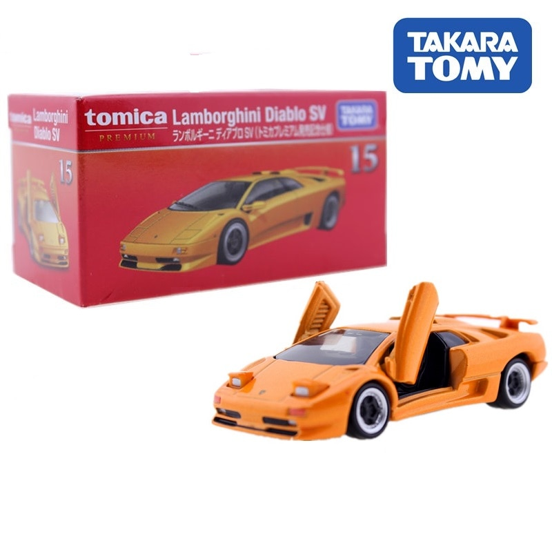 TAKARA TOMY Tomica Premium lamboghini Diablo SV naranja #15 modelo de fundición a presión coche de juguete para niños