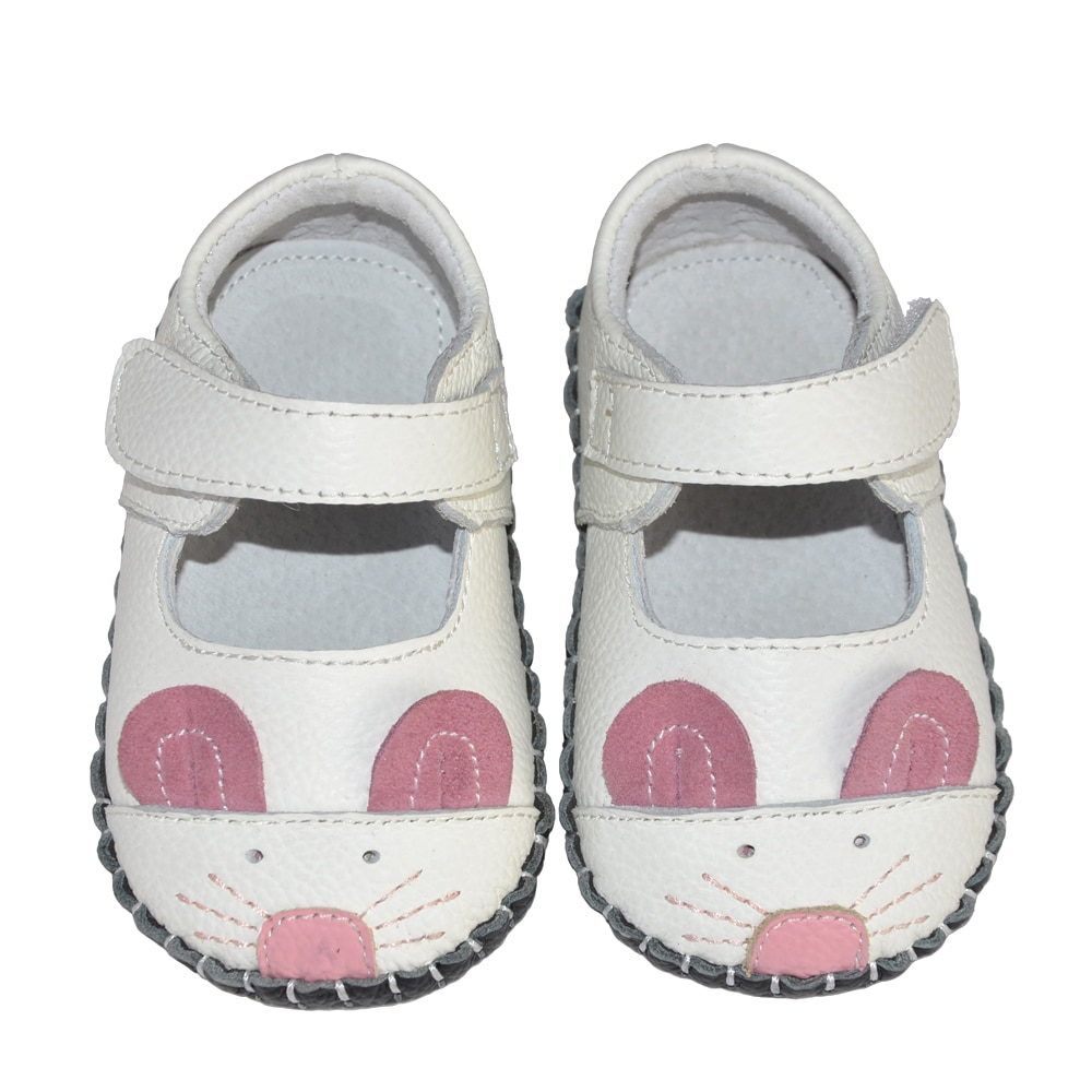 leather soft sole animal mouse mary jane baby first walking shoes