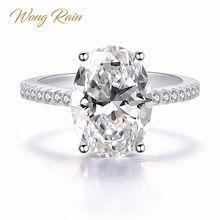 Anillo de compromiso de boda con piedras preciosas de molissanita de 9 CT de 100% Plata de Ley 925 clásico de lluvia de Wang, joyería fina al por mayor