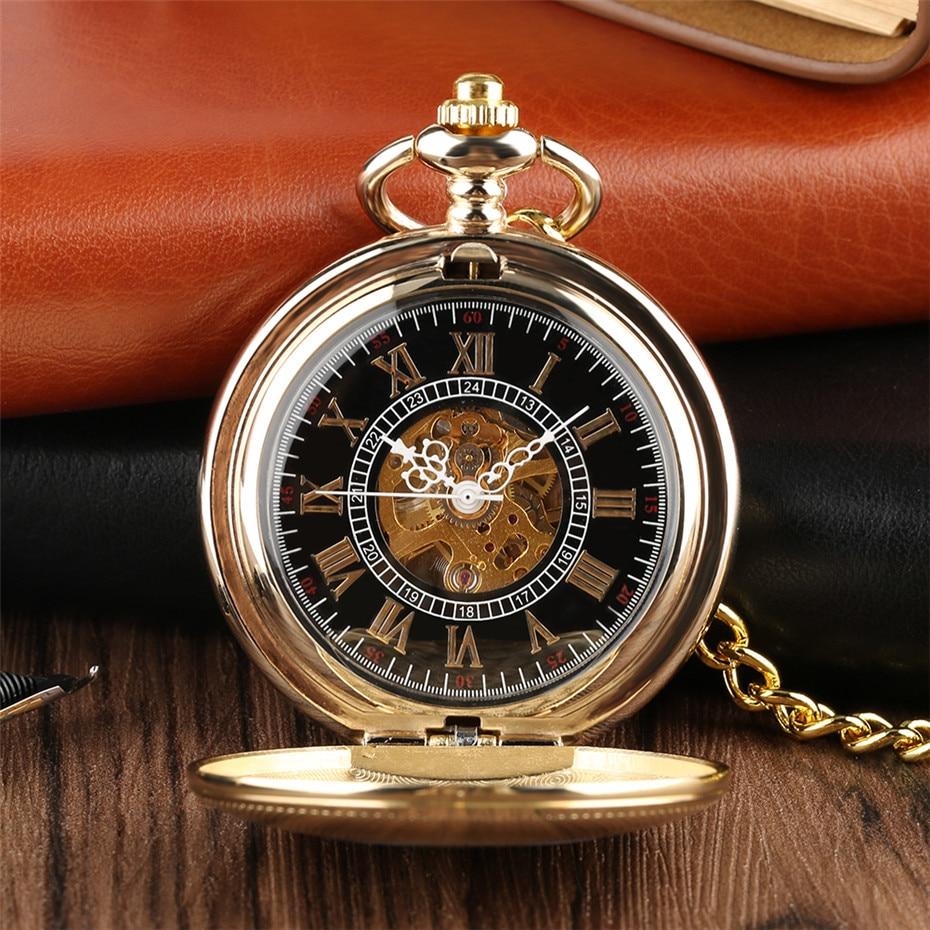 Golden Mechanical Pocket Watch Shield Design Hand Winding Steampunk Cool Pendant Pocket Chain Clock for Men Women as Collectible