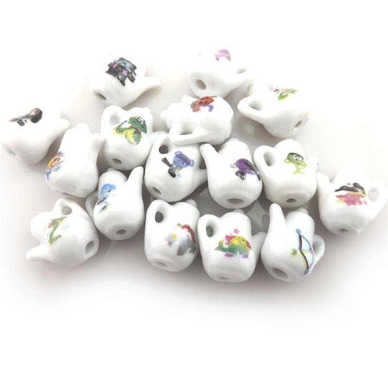Dijes de cerámica de tetera de estilo chino a la moda para joyería, animales de dibujos animados impresos colgantes de cerámica 50 unids/lote