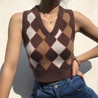 women%e2%80%99s classic argyle sweater vest sleeveless v neck plaid print rib knitted crop tank top