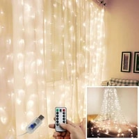 usb voice control curtain light string 33 m 300led remote control 8 mode copper wire colored lights with hook party decoration