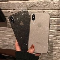 shining glitter powder bling case for iphone 11 case pro xr xs 8 7 plus 6s 12 pro case max transparent soft tpu shockproof cover