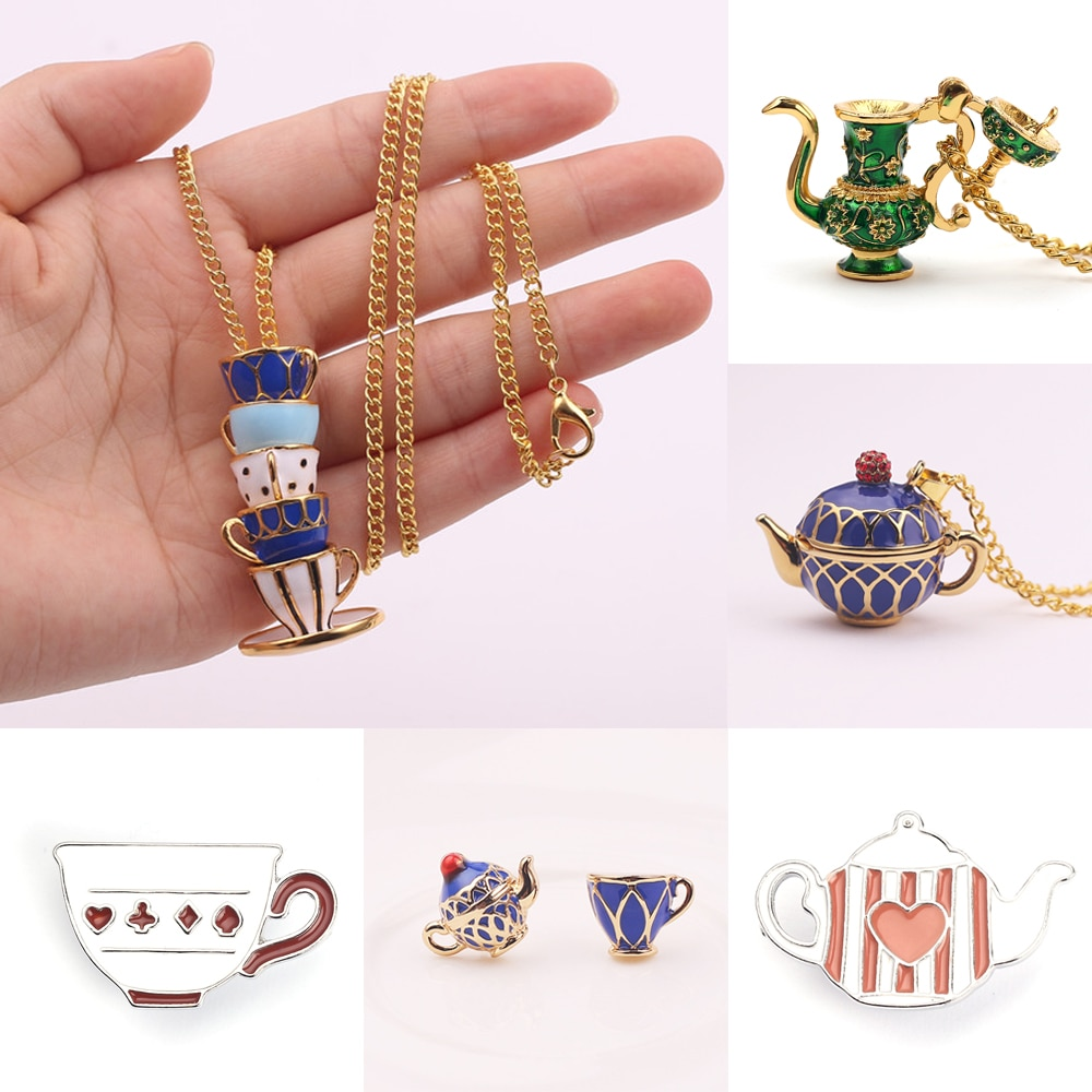 Tetera pintada a mano collares colgantes con taza de té hecho a mano cadena larga suéter accesorios de ropa para Mujeres Hombres esmalte joyería