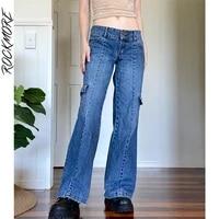 rockmore low waist jeans woman baggy pockets wide leg pants mom patchwork straight cargo denim trousers femme 90s streetwear