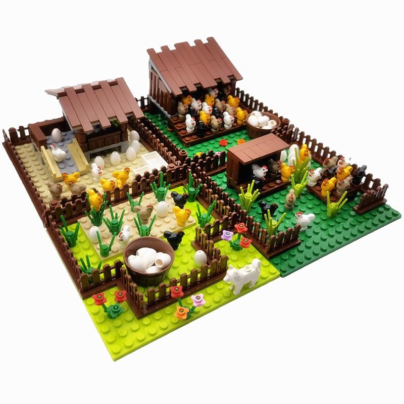 Creator City Farm Building Blocks Animals Set Pigpen Doghouse Henhouse Pig Dog Toys For Children Countryside Bricks Model
