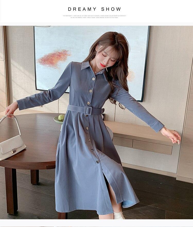 Vestido de PANA con solapa azul, cinturón de un solo pecho, falda...
