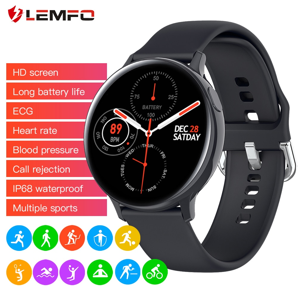 LEMFO Smart Watch Men Women S20 ECG Full Touch Screen IP68 Waterproof Heart Rate Blood Pressure Smartwatch for Android iOS