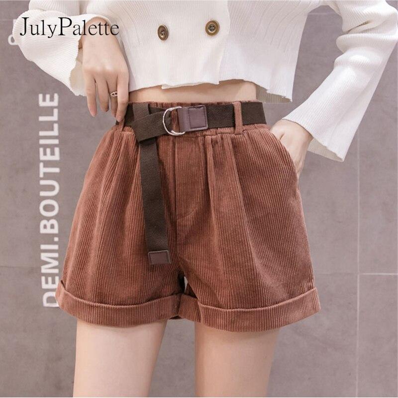 Женские вельветовые шорты с широкими штанинами, свободные повседневные короткие штаны в корейском ретро-стиле с поясом на резинке, свободн...