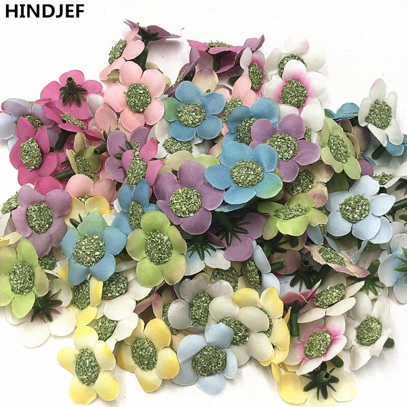 HINDJEF 10 piezas artificial multicolor ciruela girasol flor mini seda artificial flor boda decoración del hogar corona tocado